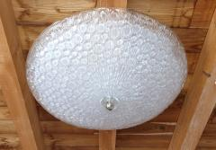 Mazzega Murano Large Mid Century Modern white Murano glass flush mount light by Mazzega 1970s - 1125224