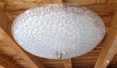 Mazzega Murano Large Mid Century Modern white Murano glass flush mount light by Mazzega 1970s - 1125231