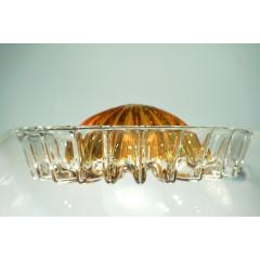 Mazzega Murano Mazzega 1960s Nickel White Amber Murano Art Glass Flower Desk Table Lamp - 1325196