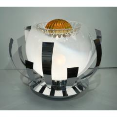 Mazzega Murano Mazzega 1960s Nickel White Amber Murano Art Glass Flower Desk Table Lamp - 1325197