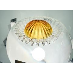 Mazzega Murano Mazzega 1960s Nickel White Amber Murano Art Glass Flower Desk Table Lamp - 1325198