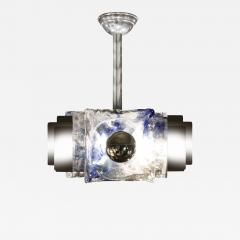 Mazzega Murano Mazzega Chandelier with Curved Blue Glass Panels 1960s - 617456