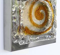 Mazzega Murano Mazzega Midcentury Blown Glass and Metal Sconces a Pair - 1219189