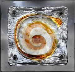 Mazzega Murano Mazzega Midcentury Blown Glass and Metal Sconces a Pair - 1219191