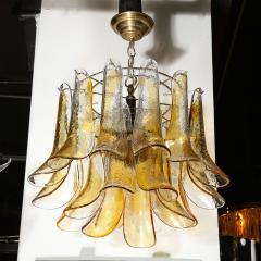 Mazzega Murano Mid Century Handblown Murano Amber Glass Brass Feather Chandelier by Mazzega - 2143294