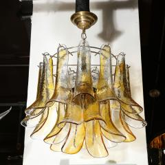 Mazzega Murano Mid Century Handblown Murano Amber Glass Brass Feather Chandelier by Mazzega - 2143311