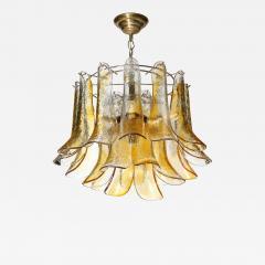 Mazzega Murano Mid Century Handblown Murano Amber Glass Brass Feather Chandelier by Mazzega - 2144756