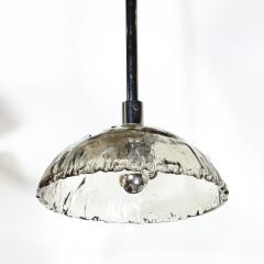 Mazzega Murano Mid Century Modern Convex Smoked Murano Glass Chrome Chandelier by Mazzega - 1733282