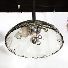 Mazzega Murano Mid Century Modern Convex Smoked Murano Glass Chrome Chandelier by Mazzega - 1733284