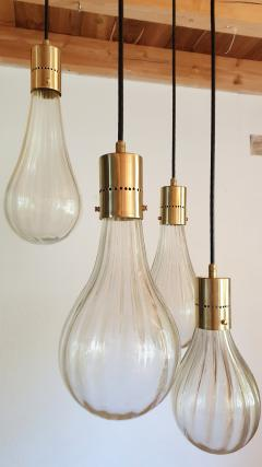 Mazzega Murano Murano glass drop pendants Mid Century Modern chandelier Mazzega style 1970s - 1415987