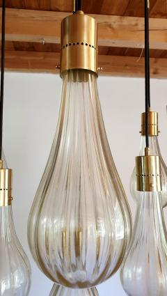 Mazzega Murano Murano glass drop pendants Mid Century Modern chandelier Mazzega style 1970s - 1415989