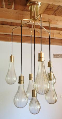 Mazzega Murano Murano glass drop pendants Mid Century Modern chandelier Mazzega style 1970s - 1415996