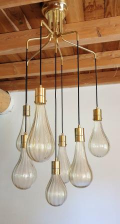 Mazzega Murano Murano glass drop pendants Mid Century Modern chandelier Mazzega style 1970s - 1416012