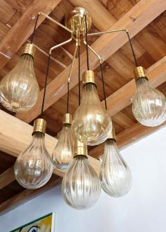 Mazzega Murano Murano glass drop pendants Mid Century Modern chandelier Mazzega style 1970s - 1416014