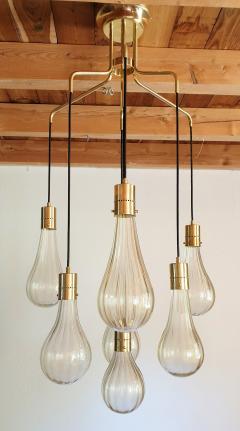 Mazzega Murano Murano glass drop pendants Mid Century Modern chandelier Mazzega style 1970s - 1416016