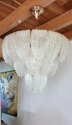 Mazzega Murano Pair of Mid Century Modern Murano Glass and Plated Gold Chandeliers by Mazzega - 1135088