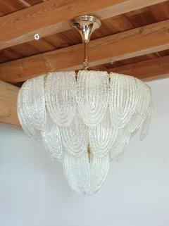 Mazzega Murano Pair of Mid Century Modern Murano Glass and Plated Gold Chandeliers by Mazzega - 1135092