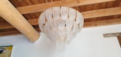 Mazzega Murano Pair of large Mid Century Modern Murano glass chandeliers flushmounts by Mazzega - 1135097