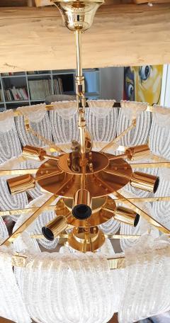 Mazzega Murano Pair of large Mid Century Modern Murano glass chandeliers flushmounts by Mazzega - 1135100
