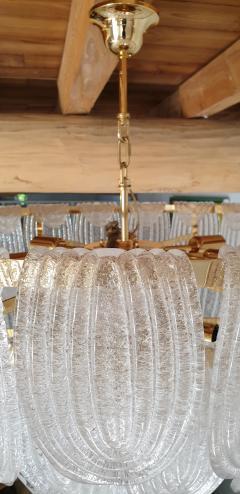 Mazzega Murano Pair of large Mid Century Modern Murano glass chandeliers flushmounts by Mazzega - 1135101