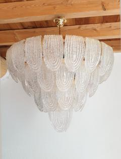 Mazzega Murano Pair of large Mid Century Modern Murano glass chandeliers flushmounts by Mazzega - 1135105