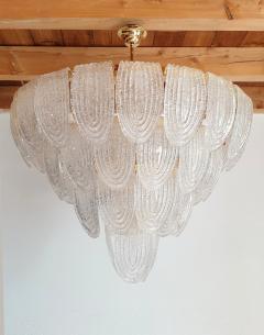 Mazzega Murano Pair of large Mid Century Modern Murano glass chandeliers flushmounts by Mazzega - 1135106