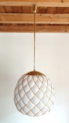 Mazzega Murano White Gold Murano Glass Midcentury Large Globe Chandelier Mazzega Style 1970 - 1603566