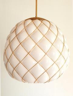 Mazzega Murano White Gold Murano Glass Midcentury Large Globe Chandelier Mazzega Style 1970 - 1603567