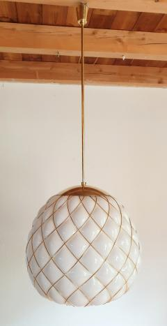Mazzega Murano White Gold Murano Glass Midcentury Large Globe Chandelier Mazzega Style 1970 - 1603568