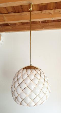 Mazzega Murano White Gold Murano Glass Midcentury Large Globe Chandelier Mazzega Style 1970 - 1603569