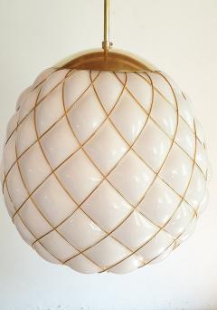 Mazzega Murano White Gold Murano Glass Midcentury Large Globe Chandelier Mazzega Style 1970 - 1603570