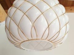 Mazzega Murano White Gold Murano Glass Midcentury Large Globe Chandelier Mazzega Style 1970 - 1603571