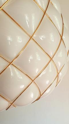 Mazzega Murano White Gold Murano Glass Midcentury Large Globe Chandelier Mazzega Style 1970 - 1603572