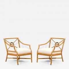 McGuire Beautiful Pair Of Vintage Bamboo Target Back Lounge Chairs By  McGuire   114033