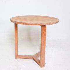 McGuire Furniture McGuire Simple Teak Round Side Table Triangular Base California 1990s - 1983435