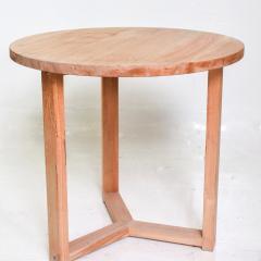 McGuire Furniture McGuire Simple Teak Round Side Table Triangular Base California 1990s - 1983437