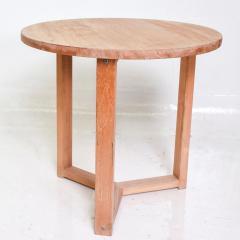 McGuire Furniture McGuire Simple Teak Round Side Table Triangular Base California 1990s - 1983438