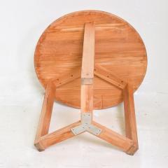 McGuire Furniture McGuire Simple Teak Round Side Table Triangular Base California 1990s - 1983441