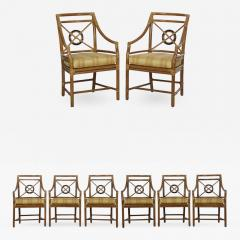 McGuire Furniture Set Of Eight Bound Rattan Dining Chairs By McGuire    699596