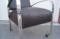 McKay Furniture Corp Chrome and Leather Armchair by McKay Furniture Company - 1606404