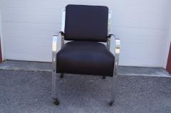 McKay Furniture Corp Chrome and Leather Armchair by McKay Furniture Company - 1606407