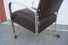 McKay Furniture Corp Chrome and Leather Armchair by McKay Furniture Company - 1606409