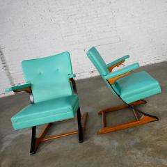 McKay Furniture Corp Turquoise vinyl faux leather spring rockers style of mckay furniture - 2072787