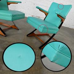 McKay Furniture Corp Turquoise vinyl faux leather spring rockers style of mckay furniture - 2072788