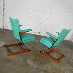 McKay Furniture Corp Turquoise vinyl faux leather spring rockers style of mckay furniture - 2072789