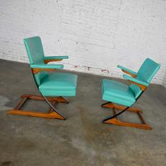McKay Furniture Corp Turquoise vinyl faux leather spring rockers style of mckay furniture - 2072790