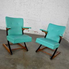 McKay Furniture Corp Turquoise vinyl faux leather spring rockers style of mckay furniture - 2072796