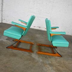McKay Furniture Corp Turquoise vinyl faux leather spring rockers style of mckay furniture - 2072797