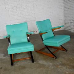 McKay Furniture Corp Turquoise vinyl faux leather spring rockers style of mckay furniture - 2072798