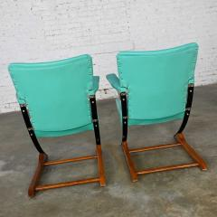 McKay Furniture Corp Turquoise vinyl faux leather spring rockers style of mckay furniture - 2072799